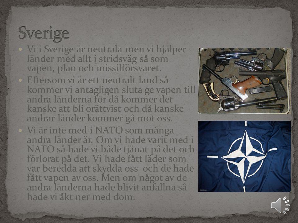 Vi i Sverige är neutrala men vi hjälper länder med allt i stridsväg så som vapen, plan och missilförsvaret.