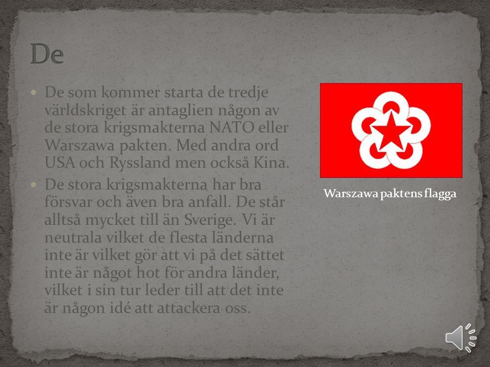 De som kommer starta de tredje världskriget är antaglien någon av de stora krigsmakterna NATO eller Warszawa pakten.