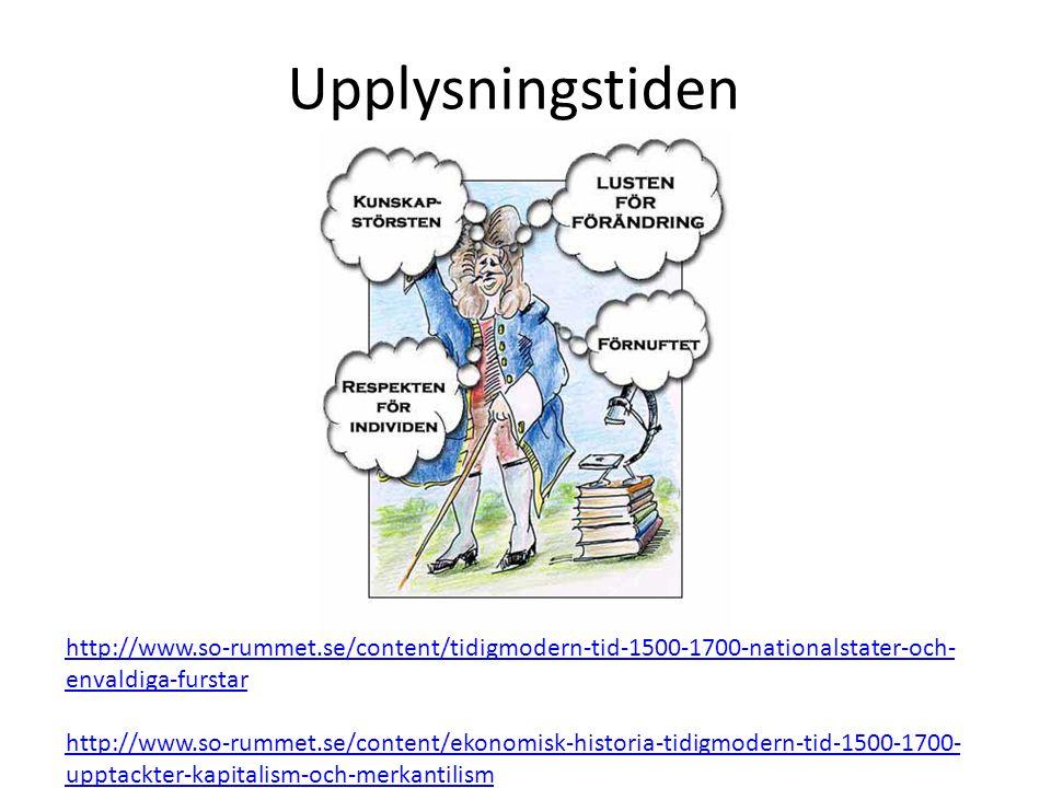 Upplysningstiden http://www.so-rummet.se/content/tidigmodern-tid-1500-1700-nationalstater-och- envaldiga-furstar http://www.so-rummet.se/content/ekonomisk-historia-tidigmodern-tid-1500-1700- upptackter-kapitalism-och-merkantilism