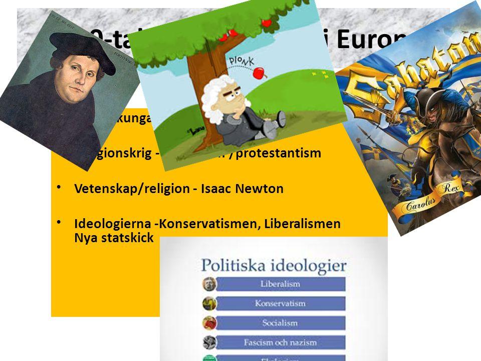 """""""Krigarkungarna"""" – Sverige är en stormakt! Religionskrig - Katolicism /protestantism Vetenskap/religion - Isaac Newton Ideologierna -Konservatismen, L"""