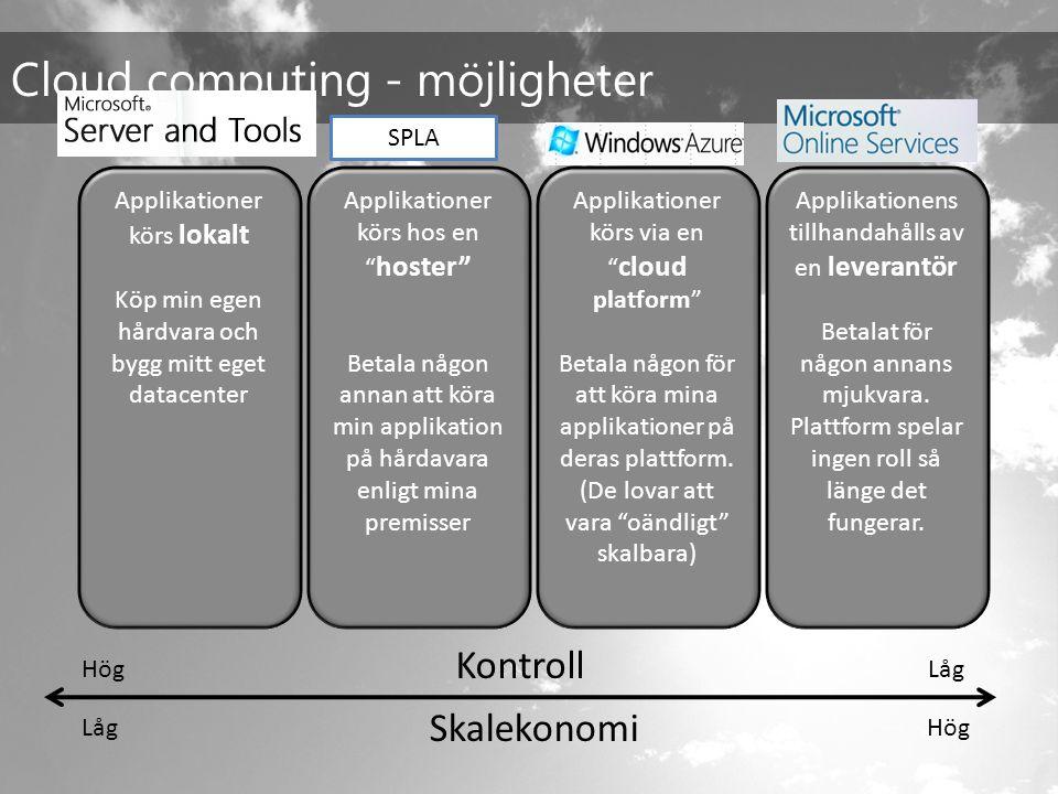 Applikationer körs lokalt Köp min egen hårdvara och bygg mitt eget datacenter Cloud computing - möjligheter Skalekonomi LågHög Applikationer körs hos