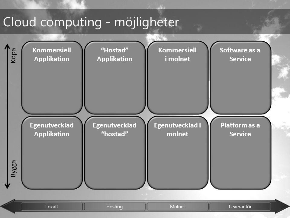 "Lokalt Hosting Molnet Leverantör Kommersiell Applikation Egenutvecklad Applikation Cloud computing - möjligheter Egenutvecklad ""hostad"" ""Hostad"" Appli"