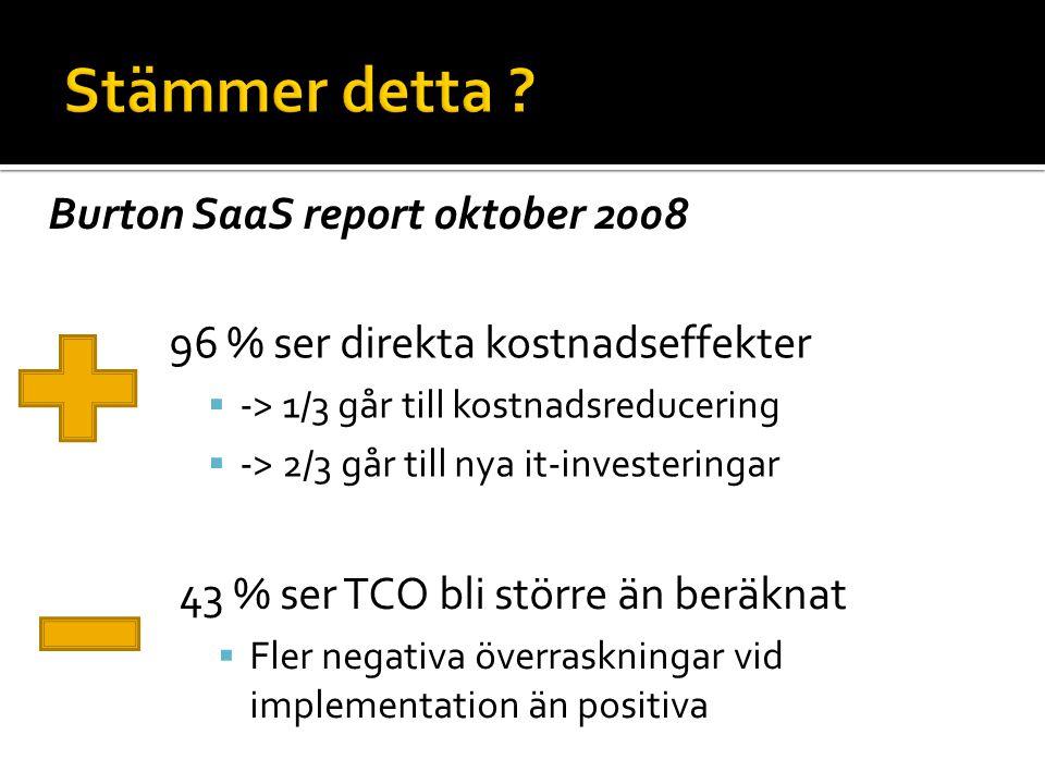 96 % ser direkta kostnadseffekter  -> 1/3 går till kostnadsreducering  -> 2/3 går till nya it-investeringar 43 % ser TCO bli större än beräknat  Fler negativa överraskningar vid implementation än positiva Burton SaaS report oktober 2008