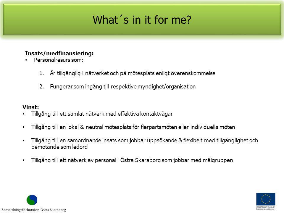 Insats/medfinansiering: Personalresurs som: 1.Är tillgänglig i nätverket och på mötesplats enligt överenskommelse 2.Fungerar som ingång till respektive myndighet/organisation What´s in it for me.