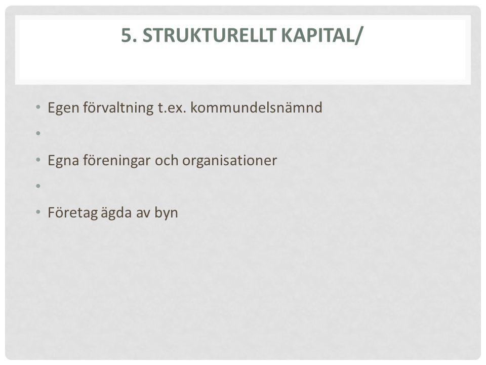 5. STRUKTURELLT KAPITAL/ Egen förvaltning t.ex. kommundelsnämnd Egna föreningar och organisationer Företag ägda av byn
