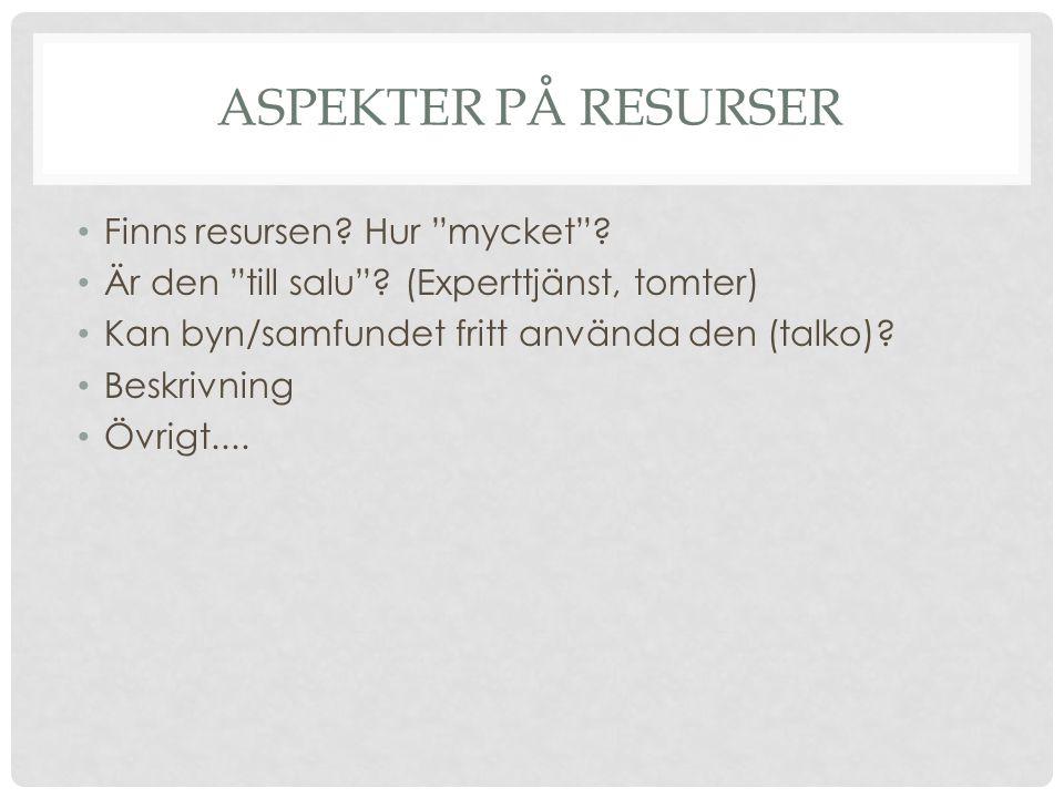 """ASPEKTER PÅ RESURSER Finns resursen? Hur """"mycket""""? Är den """"till salu""""? (Experttjänst, tomter) Kan byn/samfundet fritt använda den (talko)? Beskrivning"""
