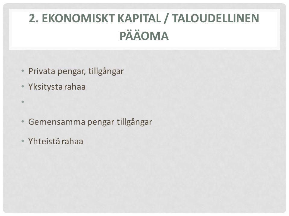 2. EKONOMISKT KAPITAL / TALOUDELLINEN PÄÄOMA Privata pengar, tillgångar Yksitysta rahaa Gemensamma pengar tillgångar Yhteistä rahaa