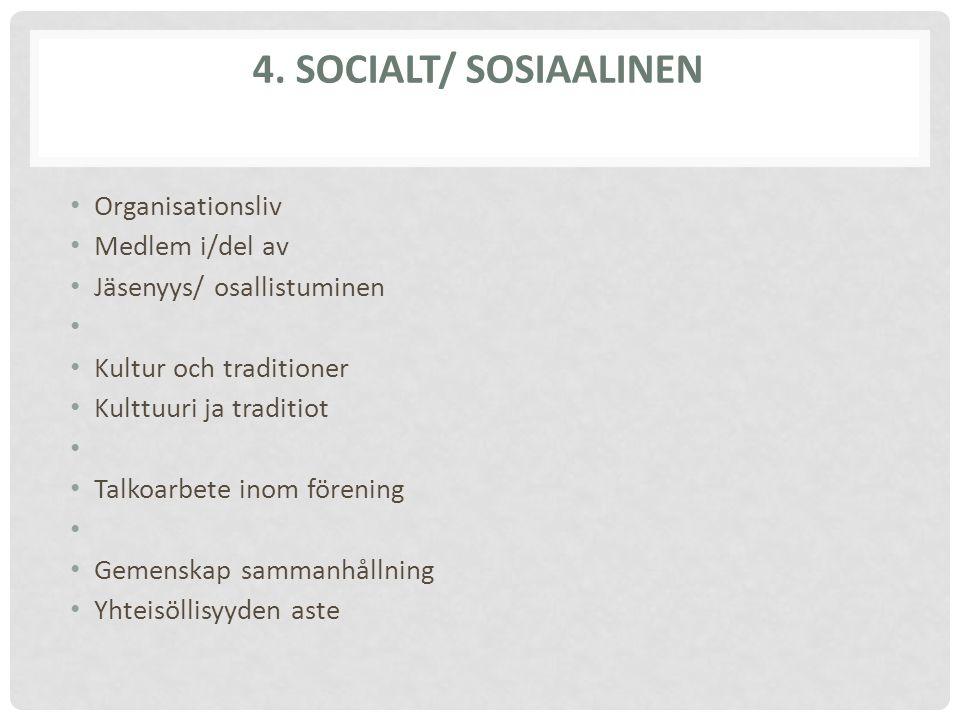4. SOCIALT/ SOSIAALINEN Organisationsliv Medlem i/del av Jäsenyys/ osallistuminen Kultur och traditioner Kulttuuri ja traditiot Talkoarbete inom fören