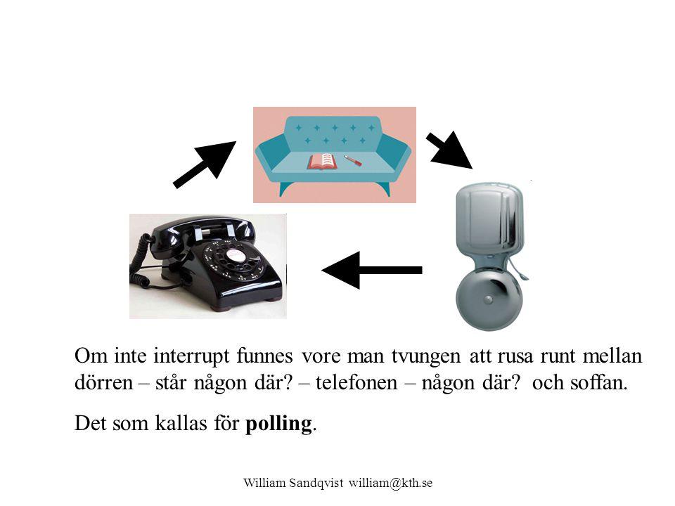 William Sandqvist william@kth.se Om inte interrupt funnes vore man tvungen att rusa runt mellan dörren – står någon där? – telefonen – någon där? och