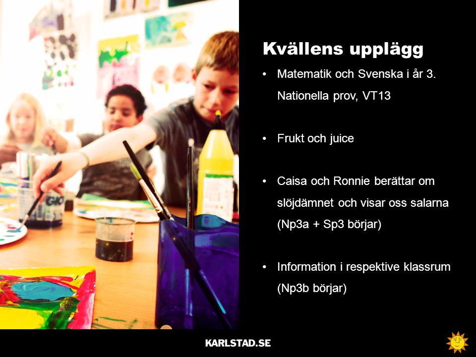 Kvällens upplägg Matematik och Svenska i år 3. Nationella prov, VT13 Frukt och juice Caisa och Ronnie berättar om slöjdämnet och visar oss salarna (Np