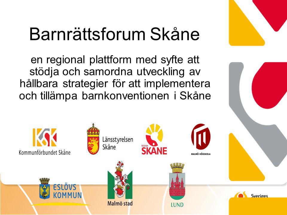 en regional plattform med syfte att stödja och samordna utveckling av hållbara strategier för att implementera och tillämpa barnkonventionen i Skåne B