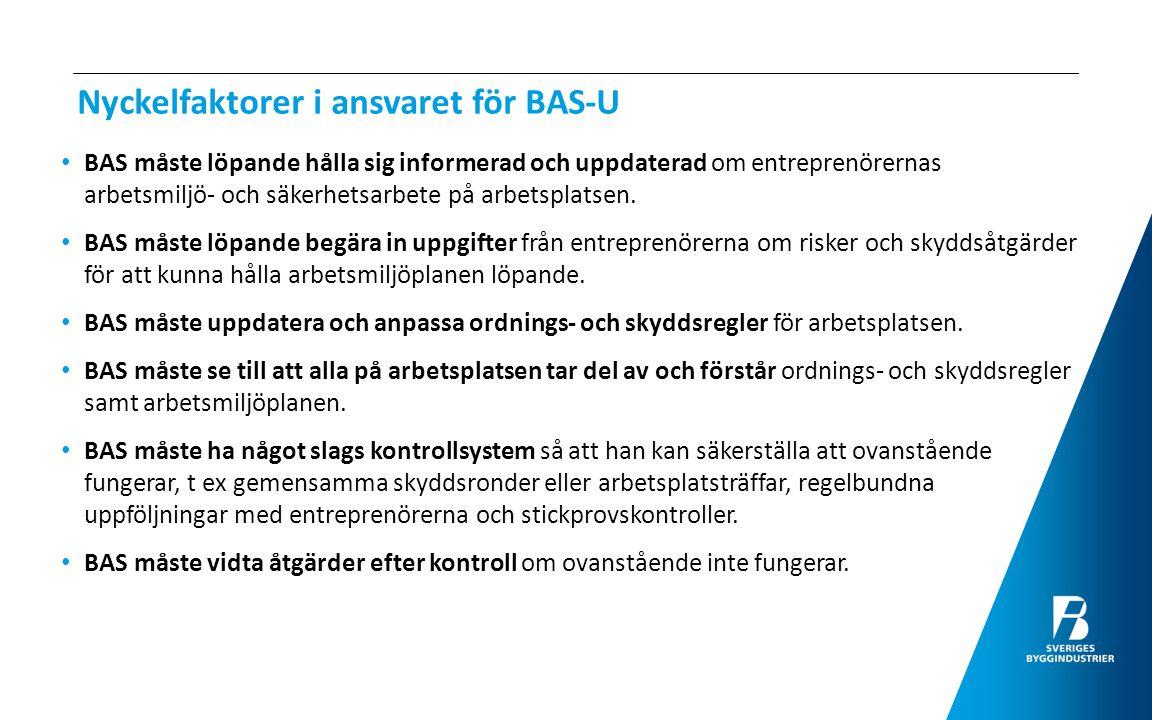 Exempel på praktiska BAS-U uppgifter för att lyckas med samordningen Samordningsmöten; närvaro bör vara obligatorisk och mötena bör dokumenteras samt protokollen distribueras till alla UE + byggherren.