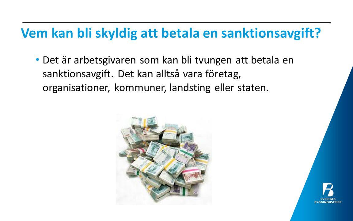 Sanktionsavgift – för vilka bestämmelser.