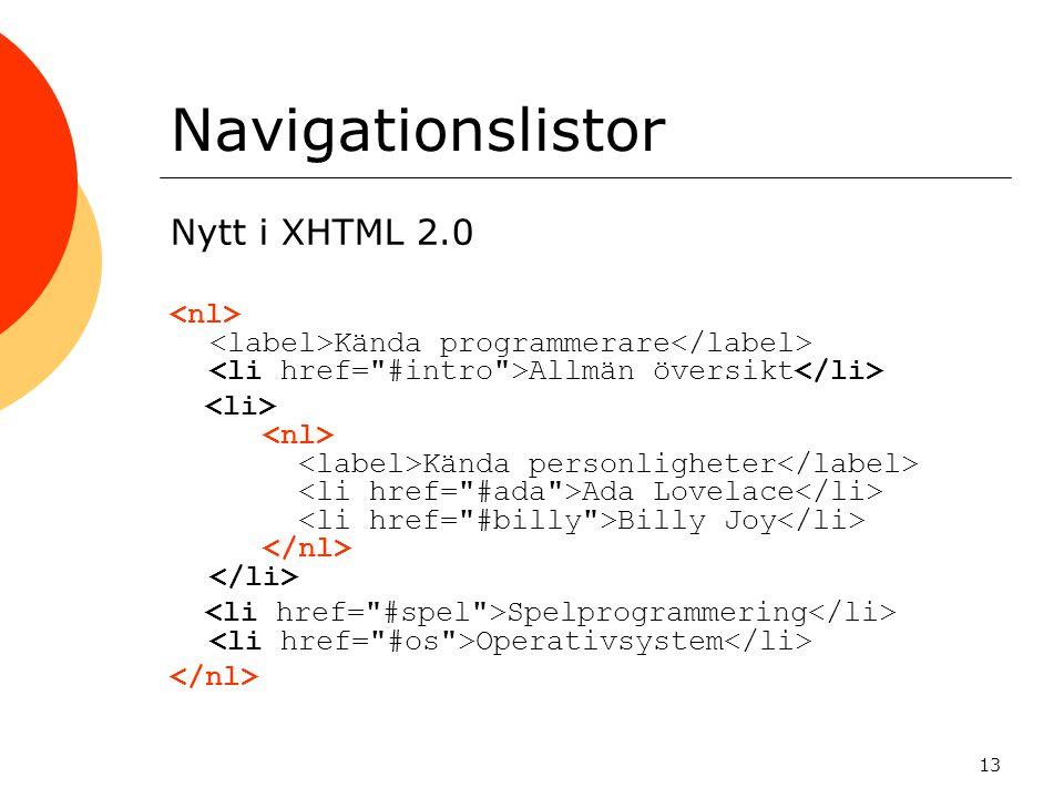 13 Navigationslistor Nytt i XHTML 2.0 Kända programmerare Allmän översikt Kända personligheter Ada Lovelace Billy Joy Spelprogrammering Operativsystem