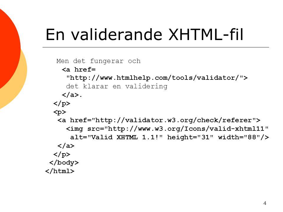 4 En validerande XHTML-fil Men det fungerar och <a href= http://www.htmlhelp.com/tools/validator/ > det klarar en validering.