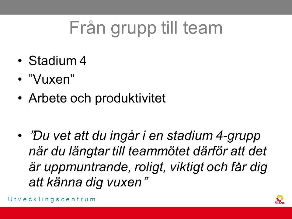 """U t v e c k l i n g s c e n t r u m Från grupp till team Stadium 4 """"Vuxen"""" Arbete och produktivitet """"Du vet att du ingår i en stadium 4-grupp när du l"""