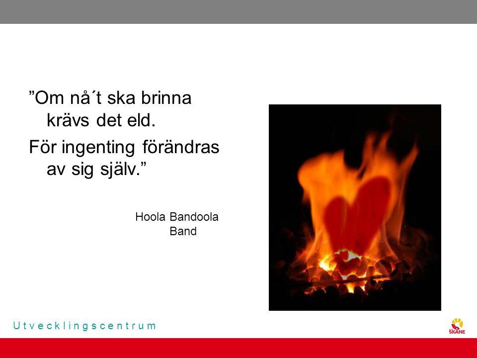 """U t v e c k l i n g s c e n t r u m """"Om nå´t ska brinna krävs det eld. För ingenting förändras av sig själv."""" Hoola Bandoola Band"""