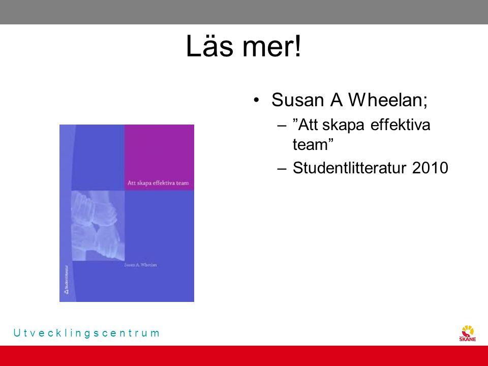 """U t v e c k l i n g s c e n t r u m Läs mer! Susan A Wheelan; –""""Att skapa effektiva team"""" –Studentlitteratur 2010"""
