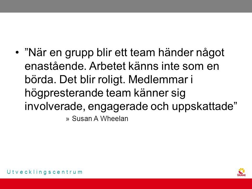 """U t v e c k l i n g s c e n t r u m """"När en grupp blir ett team händer något enastående. Arbetet känns inte som en börda. Det blir roligt. Medlemmar i"""