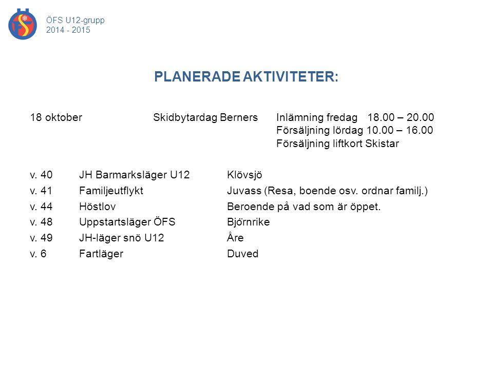 PLANERADE AKTIVITETER: ÖFS U12-grupp 2014 - 2015 18 oktober Skidbytardag Berners Inlämning fredag 18.00 – 20.00 Försäljning lördag 10.00 – 16.00 Försä