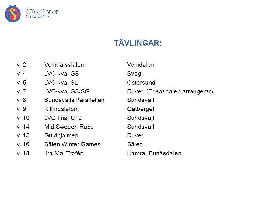 TÄVLINGAR: ÖFS U12-grupp 2014 - 2015 v. 2 Vemdalsslalom Vemdalen v. 4 LVC-kval GS Sveg v. 5 LVC-kval SL Östersund v. 7 LVC-kval GS/SG Duved (Edsa ̊ sd