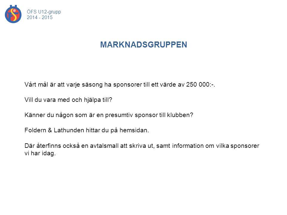 MARKNADSGRUPPEN ÖFS U12-grupp 2014 - 2015 Vårt mål är att varje säsong ha sponsorer till ett värde av 250 000:-. Vill du vara med och hjälpa till? Kän