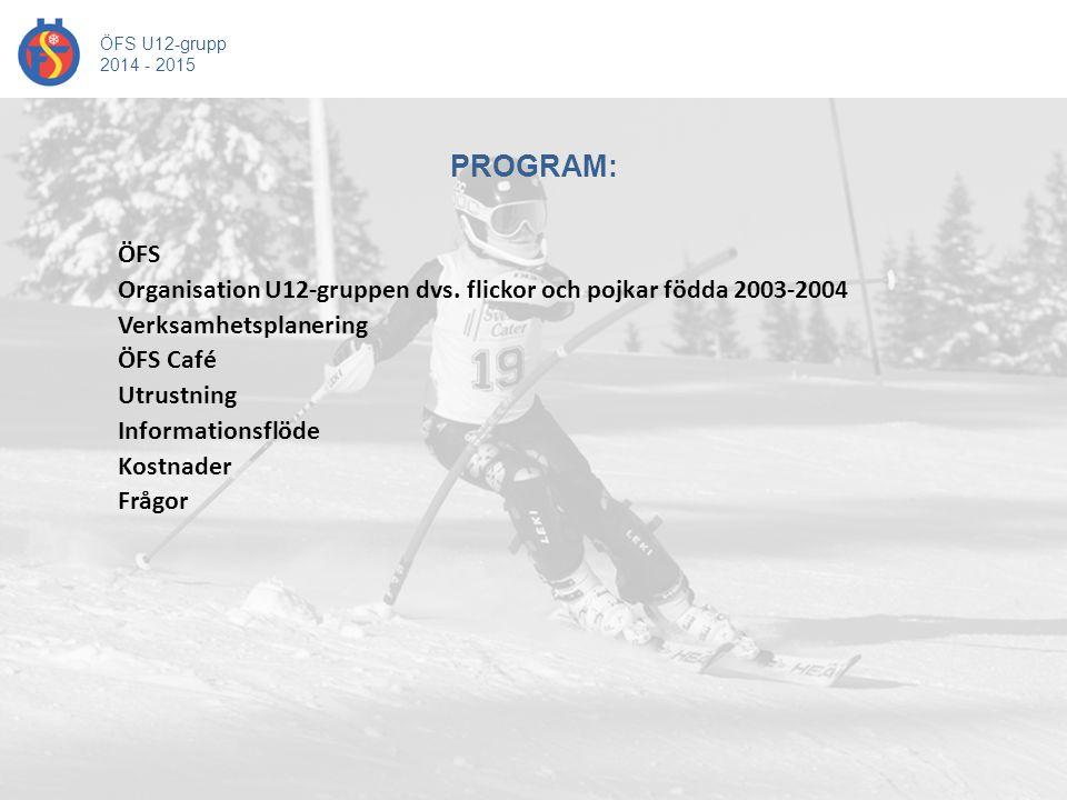 ÖFS Organisation U12-gruppen dvs. flickor och pojkar födda 2003-2004 Verksamhetsplanering ÖFS Café Utrustning Informationsflöde Kostnader Frågor PROGR
