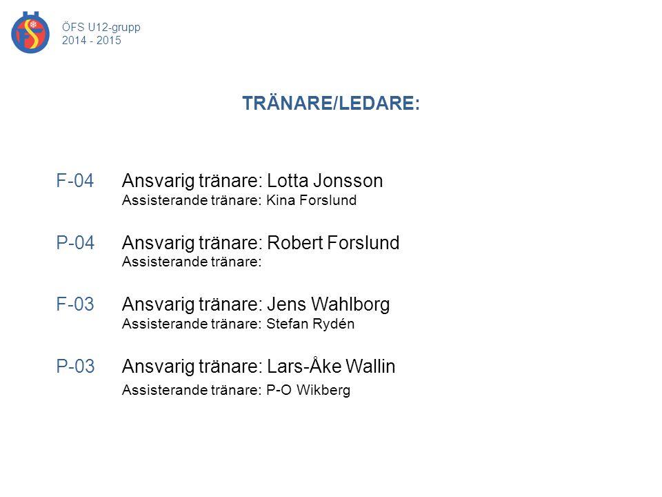 TRÄNARE/LEDARE: ÖFS U12-grupp 2014 - 2015 F-04 Ansvarig tränare: Lotta Jonsson Assisterande tränare: Kina Forslund P-04 Ansvarig tränare: Robert Forsl
