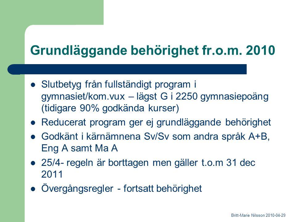 Grundläggande behörighet fr.o.m. 2010 Slutbetyg från fullständigt program i gymnasiet/kom.vux – lägst G i 2250 gymnasiepoäng (tidigare 90% godkända ku