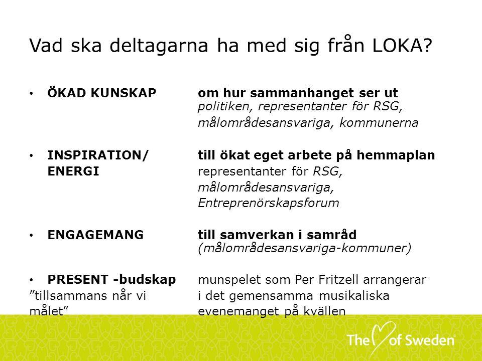 LOKA – Halvårsstatus: 29-30 AUG Vem är på plats.