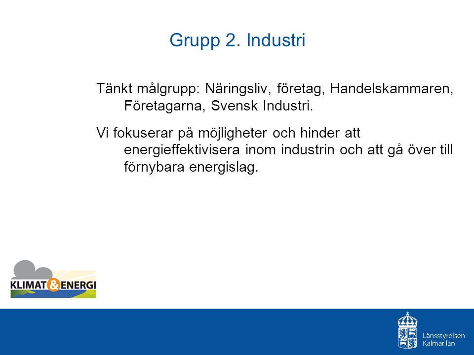 Grupp 2. Industri Tänkt målgrupp: Näringsliv, företag, Handelskammaren, Företagarna, Svensk Industri. Vi fokuserar på möjligheter och hinder att energ