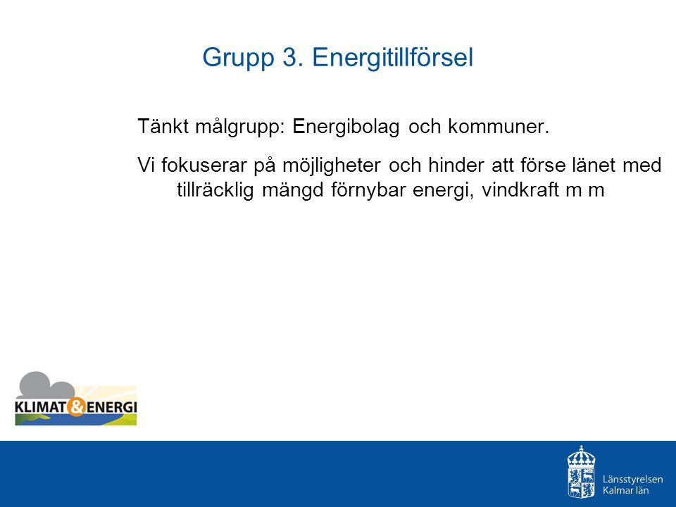 Grupp 3. Energitillförsel Tänkt målgrupp: Energibolag och kommuner. Vi fokuserar på möjligheter och hinder att förse länet med tillräcklig mängd förny