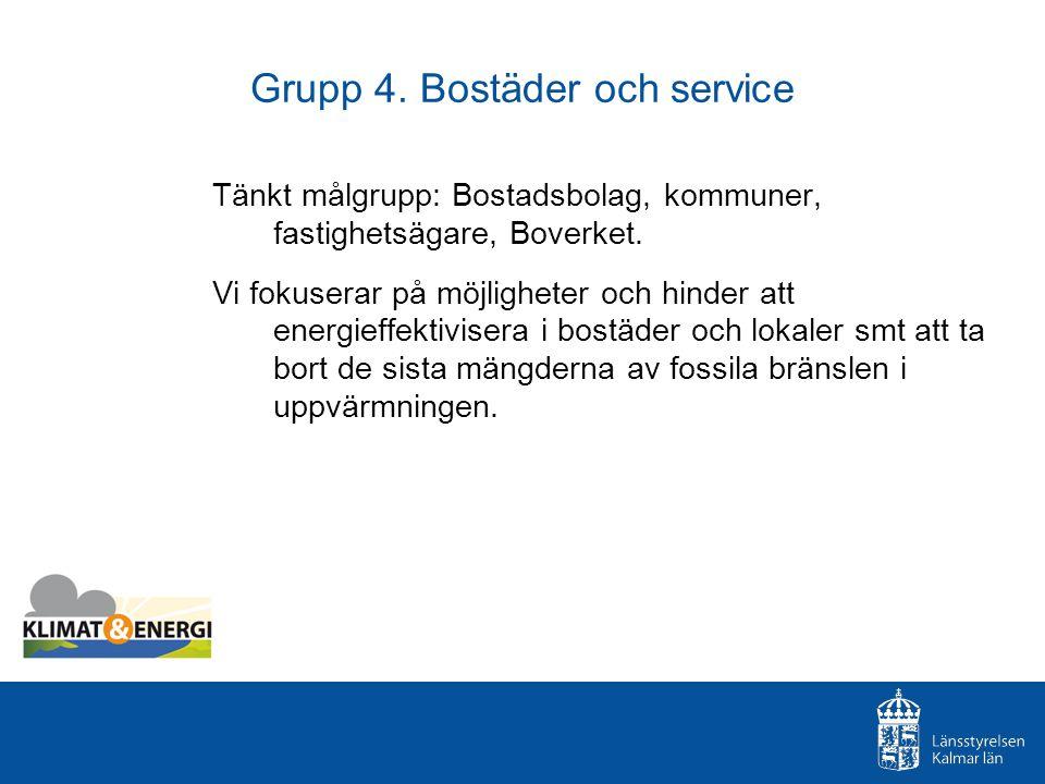 Grupp 4. Bostäder och service Tänkt målgrupp: Bostadsbolag, kommuner, fastighetsägare, Boverket. Vi fokuserar på möjligheter och hinder att energieffe