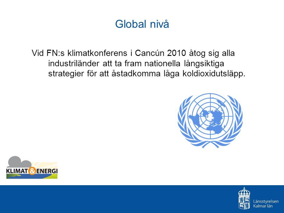 Global nivå Vid FN:s klimatkonferens i Cancún 2010 åtog sig alla industriländer att ta fram nationella långsiktiga strategier för att åstadkomma låga