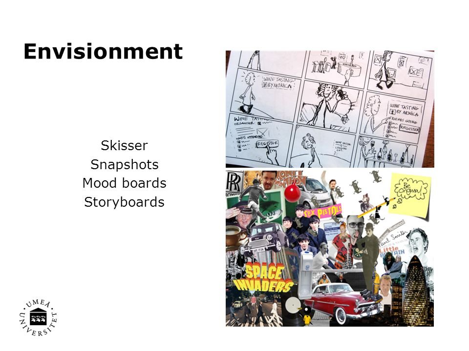 Envisionment Skisser Snapshots Mood boards Storyboards
