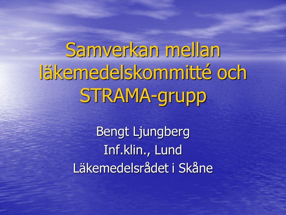 Samverkan mellan läkemedelskommitté och STRAMA-grupp Bengt Ljungberg Inf.klin., Lund Läkemedelsrådet i Skåne