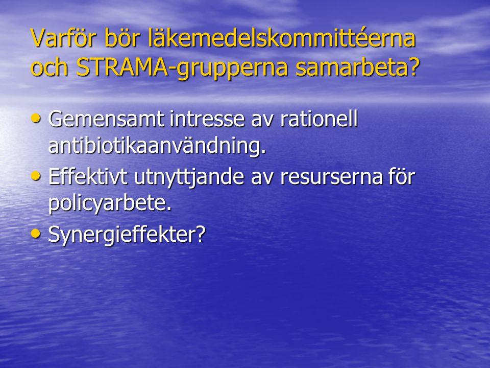 Varför bör läkemedelskommittéerna och STRAMA-grupperna samarbeta? Gemensamt intresse av rationell antibiotikaanvändning. Gemensamt intresse av ratione