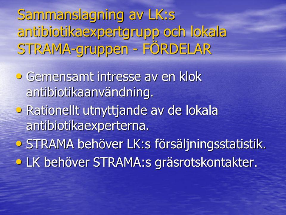 Sammanslagning av LK:s antibiotikaexpertgrupp och lokala STRAMA-gruppen - FÖRDELAR Gemensamt intresse av en klok antibiotikaanvändning. Gemensamt intr
