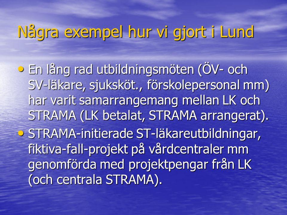 Några exempel hur vi gjort i Lund En lång rad utbildningsmöten (ÖV- och SV-läkare, sjuksköt., förskolepersonal mm) har varit samarrangemang mellan LK