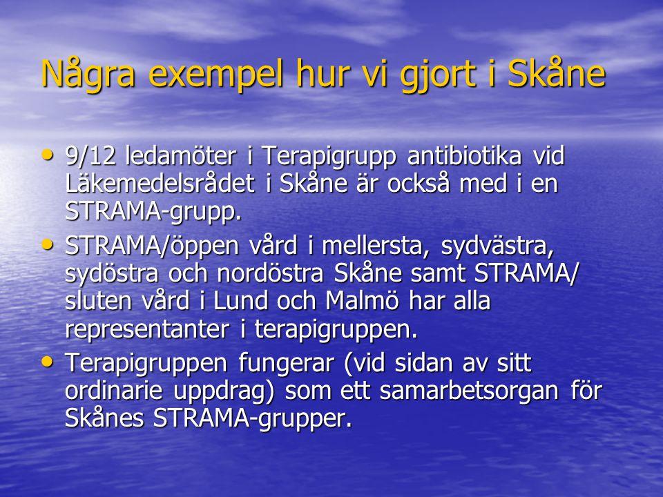 Några exempel hur vi gjort i Skåne 9/12 ledamöter i Terapigrupp antibiotika vid Läkemedelsrådet i Skåne är också med i en STRAMA-grupp. 9/12 ledamöter
