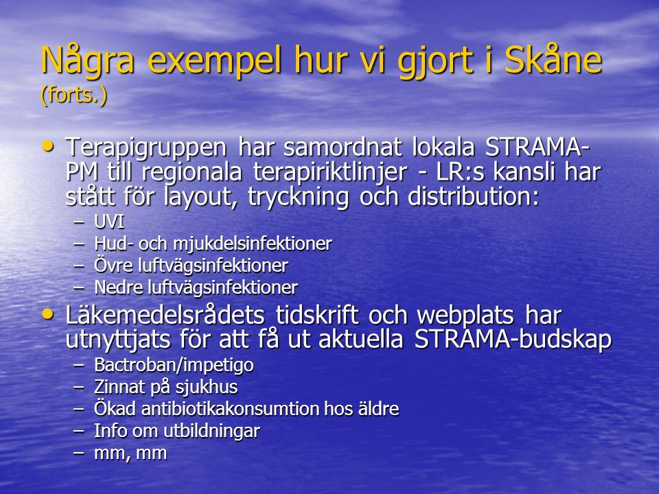 Några exempel hur vi gjort i Skåne (forts.) Terapigruppen har samordnat lokala STRAMA- PM till regionala terapiriktlinjer - LR:s kansli har stått för