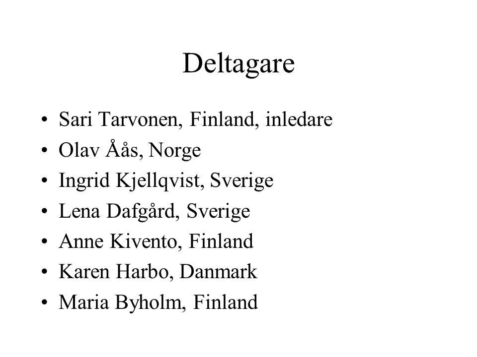 Deltagare Sari Tarvonen, Finland, inledare Olav Åås, Norge Ingrid Kjellqvist, Sverige Lena Dafgård, Sverige Anne Kivento, Finland Karen Harbo, Danmark Maria Byholm, Finland