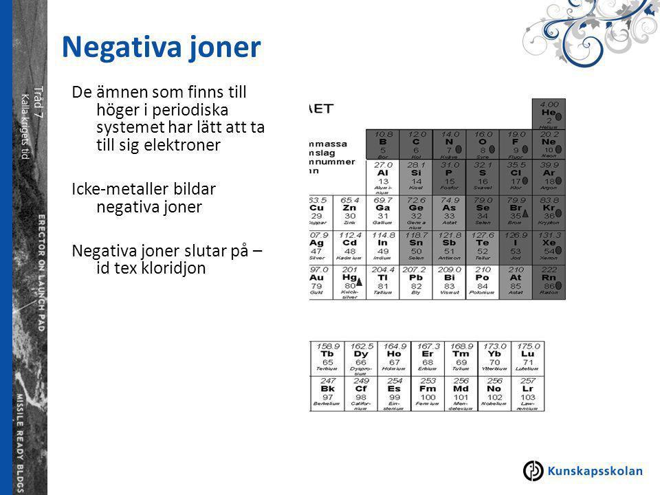 Negativa joner De ämnen som finns till höger i periodiska systemet har lätt att ta till sig elektroner Icke-metaller bildar negativa joner Negativa joner slutar på – id tex kloridjon