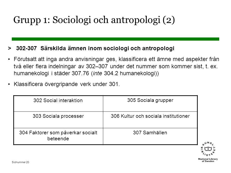 Sidnummer 20 Grupp 1: Sociologi och antropologi (2) > 302-307 Särskilda ämnen inom sociologi och antropologi Förutsatt att inga andra anvisningar ges, klassificera ett ämne med aspekter från två eller flera indelningar av 302–307 under det nummer som kommer sist, t.
