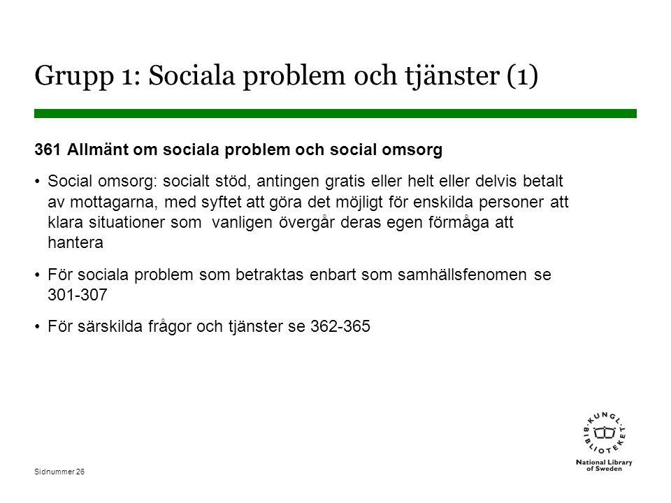 Sidnummer 26 Grupp 1: Sociala problem och tjänster (1) 361 Allmänt om sociala problem och social omsorg Social omsorg: socialt stöd, antingen gratis eller helt eller delvis betalt av mottagarna, med syftet att göra det möjligt för enskilda personer att klara situationer som vanligen övergår deras egen förmåga att hantera För sociala problem som betraktas enbart som samhällsfenomen se 301-307 För särskilda frågor och tjänster se 362-365