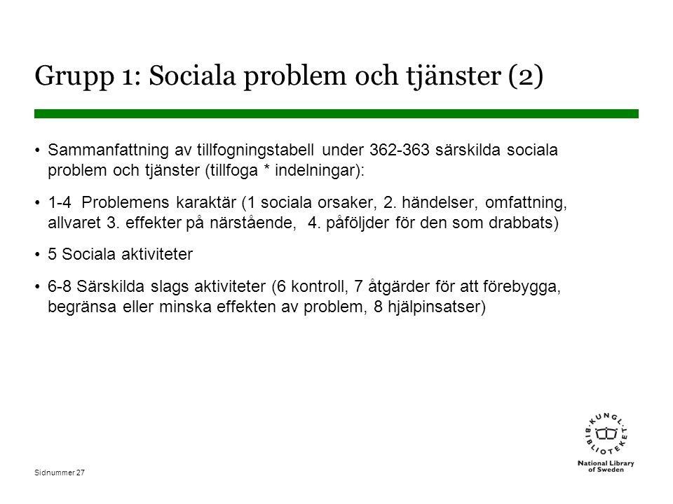 Sidnummer 27 Grupp 1: Sociala problem och tjänster (2) Sammanfattning av tillfogningstabell under 362-363 särskilda sociala problem och tjänster (tillfoga * indelningar): 1-4 Problemens karaktär (1 sociala orsaker, 2.