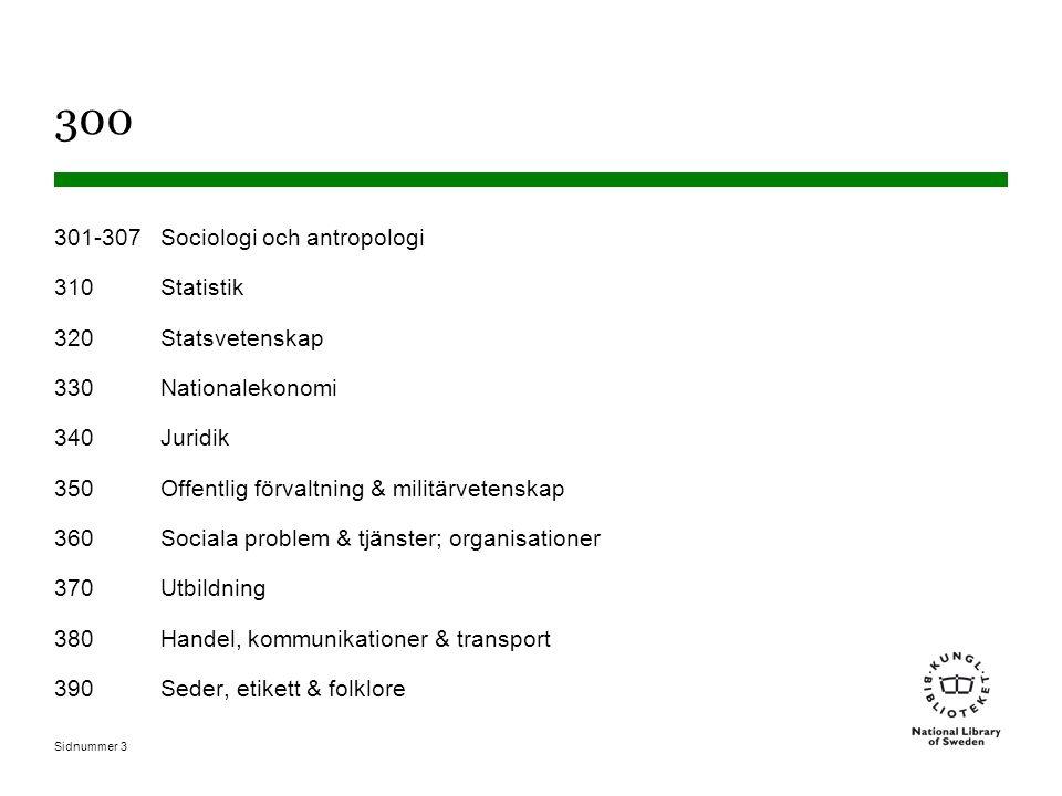 Sidnummer 3 300 301-307Sociologi och antropologi 310Statistik 320Statsvetenskap 330Nationalekonomi 340Juridik 350Offentlig förvaltning & militärvetenskap 360Sociala problem & tjänster; organisationer 370Utbildning 380Handel, kommunikationer & transport 390Seder, etikett & folklore