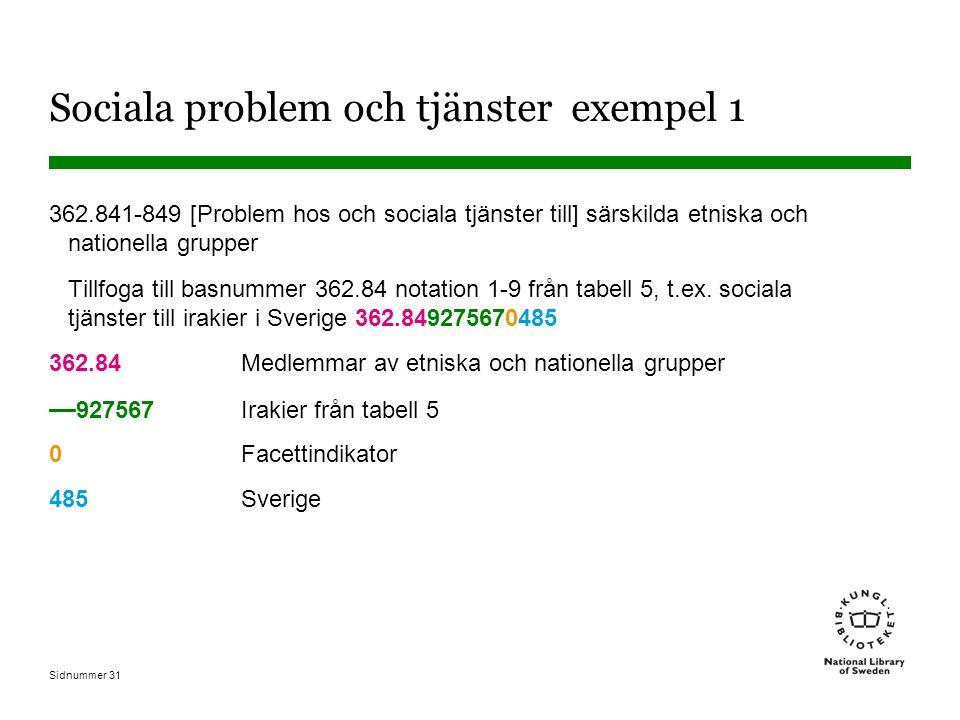 Sidnummer 31 Sociala problem och tjänster exempel 1 362.841-849 [Problem hos och sociala tjänster till] särskilda etniska och nationella grupper Tillfoga till basnummer 362.84 notation 1-9 från tabell 5, t.ex.