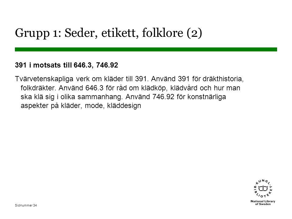 Sidnummer 34 Grupp 1: Seder, etikett, folklore (2) 391 i motsats till 646.3, 746.92 Tvärvetenskapliga verk om kläder till 391.
