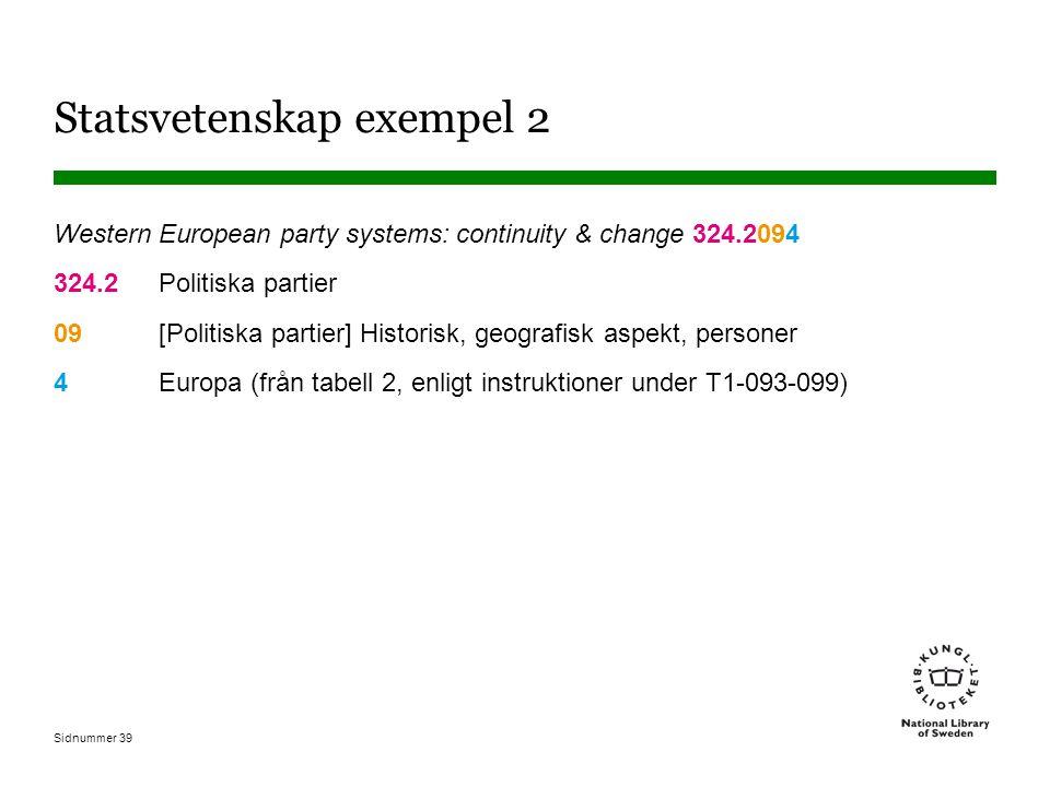 Sidnummer 39 Statsvetenskap exempel 2 Western European party systems: continuity & change 324.2094 324.2Politiska partier 09[Politiska partier] Historisk, geografisk aspekt, personer 4Europa (från tabell 2, enligt instruktioner under T1-093-099)
